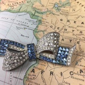 Vintage Jewelry - Vintage Art Deco Paste Rhinestone Bow Brooch